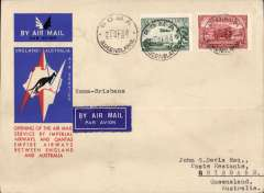 (Australia) Roma to Brisbane, bs 21/12. leg of the first regular England-Australia  service, bs 21/12, special envelope franked 5d, Qantas Airways.