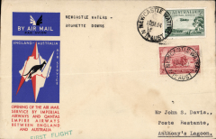 (Australia) Newcastle Waters to Anthony's Lagoon, bs 19/12 leg of the first regular England-Australia  service, bs 21/12, special envelope franked 5d, Qantas Airways.