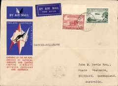(Australia) Darwin to Brisbane, 21/12, leg of the first regular Australia-Englanda  service, bs 21/12, special envelope franked 5d, Qantas Airways.