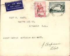 """(Australia) Australian Transcontinental Airways, F/F Darwin-Adelaide, bs Melbourne 27/8, franked Australia 3d air & 2d, canc Darwin 21 Aug 1935 cds, typed """"First Darwin-Adelaide Air Mail"""",  signed by pilot, J Chapman.."""