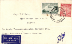 "(Australia) Australian Transcontinental Airways, F/F Adelaide-Darwin, bs 20/, franked Australia 3d air & 2d, canc Adelaide 17/8 cds, typed ""By Aust.Transcontinental Airways Ltd/First Adelaide-Darwin Service"",  signed by pilot.."