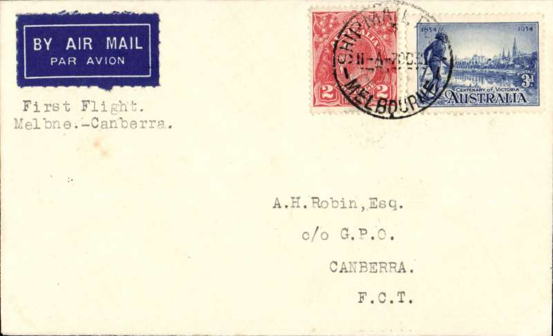 """(Australia) Holymans Airways Ltd, F/F Melbourne to Canberra, bs 7/10, airmail etiquette cover franked  5d, typed 'First Flight/Melbourne-Canberra'.red """"Canberra to Sydney/Holymans Airways Ltd""""."""