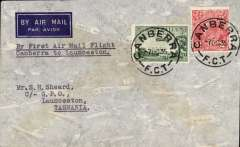(Australia) Canberra to Launceston, bs 8/10, via Sydney 3/10, carried on Holyman's Airways F/F Sydney-Canberra-Melbourne-Launceston-Hobart, imprint etiquette cover franked 5d, typed 'By First Air Mail Flight/Canberra to Lauceston'.