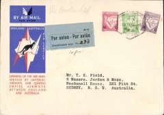 (Mozambique) First acceptance of mail from Mozambique for Australia for carriage on the Imperial Airways/Qantas Australia-England service, bs 'Sydney 7Jan 35',  red/white/blue 'kangaroo' souvenir cover franked 1e75, also blue 'Par Avion / Affranchissement Percu: Frs, ms '2.33' label in blue. Flown from Madagascar  to Broken Hill, 13/12/34, by La Service de la Navigation Aerienne de Madagascar, then to Cairo by the Imperial Airways Cape Town-London service where it connected with the Imperial Airways England-AustraliaAfrica service.