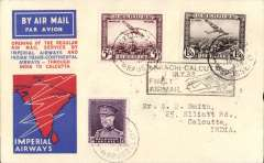 """(Belgium) Belgium acceptance for the first regular Imperial Airways/India Trans-Continental Airways service from London to Calcutta, b/s 9/7, via Karachi 7/7, red/white/blue 'speedbird' cover franked 6F50 airs & 1F50 ordinary, canc Brussels cds, black boxed rectangular """"Karachi-Calcutta/7 Jul 33/Fist Airmail"""" arrival cachet verso, Francis Field authentication hs and Stephen Smith signature.."""