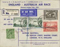 (GB External) Mac Robertson Race, England to Australia, C.W.A.Scott & T.Campbell-Black, registered (label) souvenir cover handed to pilots at start and posted back to England by Air Mail, franked  GB 1/2d canc Kensington 17/10 to confirm GB departure and Australia 1/- & 2d canc Melbourne 24/10 arrival cds, also Melbourne 29/10 cds verso for return, signed verso Tom Campbell-Black and C.W.Scott.,