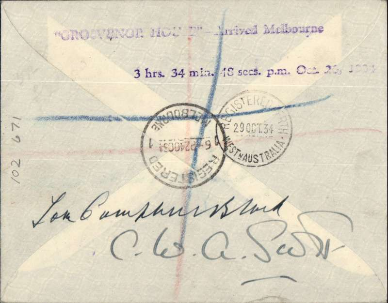 (GB External) Mac Robertson Race, England to Australia, C.W.A.Scott & T.Campbell-Black, registered (label) souvenir cover handed to pilots at start and posted back to England by Air Mail, franked  GB 1/2d canc Kensington 17/10 and Australia 1/- & 2d canc Melbourne 24/10 arrival cds, also Melbourne 29/10 cds verso for return, signed verso Tom Campbell-Black and C.W.Scott.,
