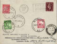 (GB External) Clouston and Ricketts record DH88 Comet flight, London-Australia-New Zealand-England, plain cover franked GB 1 1/2d canc London EC 15/3 cds, Australia 2d canc Sydney 19/3, New Zealand 1d canc 20/3 and Australia 1d canc 23/3, also London EC 26/3 cds confirming date of return. A scarce item in fine condition.