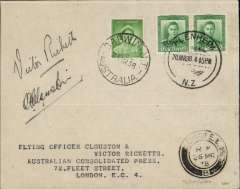(New Zealand) Clouston & Ricketts, return flight New Zealand-Australia-England in the DH-88 Comet 'Australian Anniversary', cover franked New Zealand 1/2d x2 canc Blenheim 20/3 cds and Australia 1d canc Darwin 23/10 cds, also London 26/3 arrival cds. Signed on front by 'A E Clouston' and 'Victor Ricketts', . One of only twelve signed covers carried.