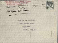 (Malaya) New  Empire Air Mail Scheme, first return flight Penang to England, plain cover correctly rated 8c, ms 'First Cheap Rate Service', EAMS propaganda hs verso.