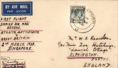 (Singapore) First return flight New  Empire Air Mail Scheme, Singapore to England, airmail etiquette cover correctly rated 8c, typed 'First Flight/Empire Air Mail Scheme/Straits Settlements to/Great Britain/2nd March 1938'.