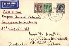 (Singapore) First  flight New  Empire Air Mail Scheme, Singapore to Australia, bs Melbourne 7/8, airmail etiquette cover correctly rated 8c, typed 'First Flight/Empire Air Mail Scheme/Singapore to Australia/2nd August 1938'.