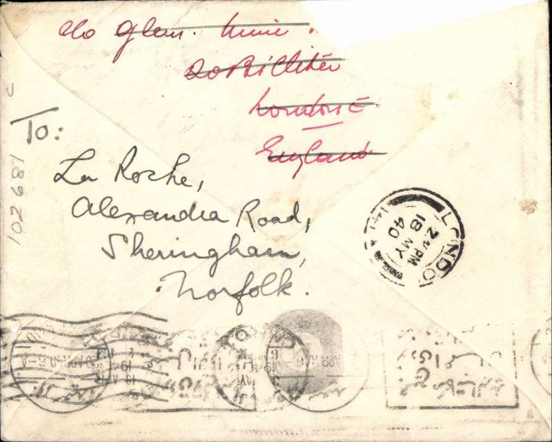 "(Malaya) Johore-Cairo-London, early WW II censored airmail  to passenger aboard ship, franked 55c Johore stamps canc Segamat cds, correctly rated 55c for BOAC Singapore-Cairo service 5/9/39-8/5/41 addressed to MV Glenapp, Shipping Agents, Port Said, bs 20/4, via Cairo 19/4, Egyptian censor mark, then re-directed to London 18/5. Violet boxed Singapore ""PassedBy/14/Censor"". The ship was a Glen Line vessel which survived the war. Ironed horizontal crease and top edge damage, mostly verso."
