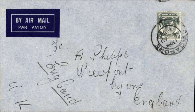 (Singapore) Singapore to England, imprint etiquette cover franked Straits Settlements 8c, canc Singapore/II cds, correctly rated 8c for  carriage by 'All Up' Empire Air Mail Scheme.