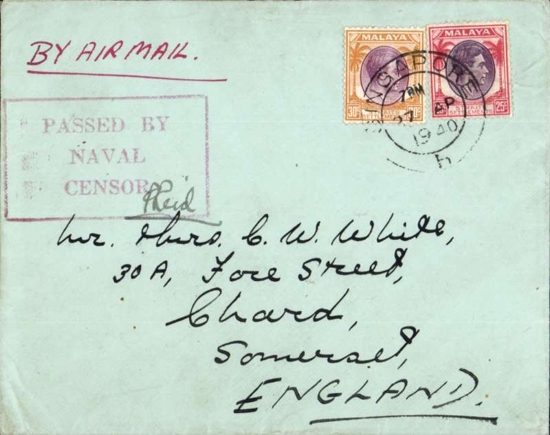 (Singapore) Last BOAC flight before transfer of  the direct Singapore-Cairo-Southampton route to the Singapore-Cairo-Durban-Southampton (Horseshoe) route, WWII navy censored cover, Singapore to England, plain cover correctly rated 55c, red framed 'Passed By/Naval/Censor'.