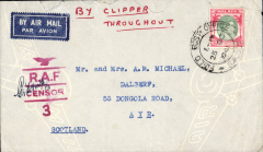 (Singapore) 'By Air All the Way', WWII censored cover, Singapore to Scotland by the Pacific-USA-Atlantic route, airmail etiquette cover franked $2 canc 'Field Post Office/Singapore/501 cds, red 'wings over RAF/Censor/3' censor mark., ms 'By Clipper/Throughout'.  Carried BOAC to Hong Kong via Bangkok, Pan Am across the Pacific, US domestic airline across US, Pan Am across the Atlantic, then KLM from Lisbon- London (Jul - Oct 1940 service). Likely 40c underpaid for carriage on this service (see Boyle p815). Minor top edge damage, see scan.