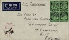 (Singapore) 'By Air All the Way', WWII censored cover, correctly rated $2 for carriage from Singapore to England by the Pacific-USA-Atlantic route, airmail etiquette cover canc 'Field Post Office/Singapore/501 cds, red 'wings over RAF/Censor/13' censor mark., ms 'Air/'.  Carried Pan Am to San Francisco, US domestic airline to New York, Pan Am to Lisbon, then KLM to Whitchurch, England, May-Dec 1941 $2 service, This cover is likely to be a first flight for this particular service. (see Boyle p815,16).