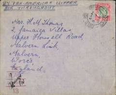 (Singapore) 'By Air All the Way', WWII censored cover, correctly rated $2 for carriage from Singapore to England by the Pacific-USA-Atlantic route, airmail cover canc 'Field Post Office/SP501 cds, red 'wings over RAF/Censor/13' censor mark.  Carried Pan Am to San Francisco, US domestic airline to New York, Pan Am to Lisbon, then KLM to Whitchurch, England, May-Dec 1941 $2 service, (see Boyle p815,16). Some flap damage - see scan.
