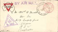 (Malaya) Australian Imperial Forces mail, Serembam, Negeri Sembilan to NSW, Australia, censored WWII 'YMCA' printed corner cover, franked red 'Postage Paid/ 25 cents/ Johore' double ring hs (shortage of stamps so Postage Paid hs used instead) tied buy Australian Imperial Force 'A.I.F. Field PO/ 150041/ No17' (based in Serenbam at that time), fine strike violet triangular Unit sensor No 3413, also violet straight line 'By Air Mail' hs.