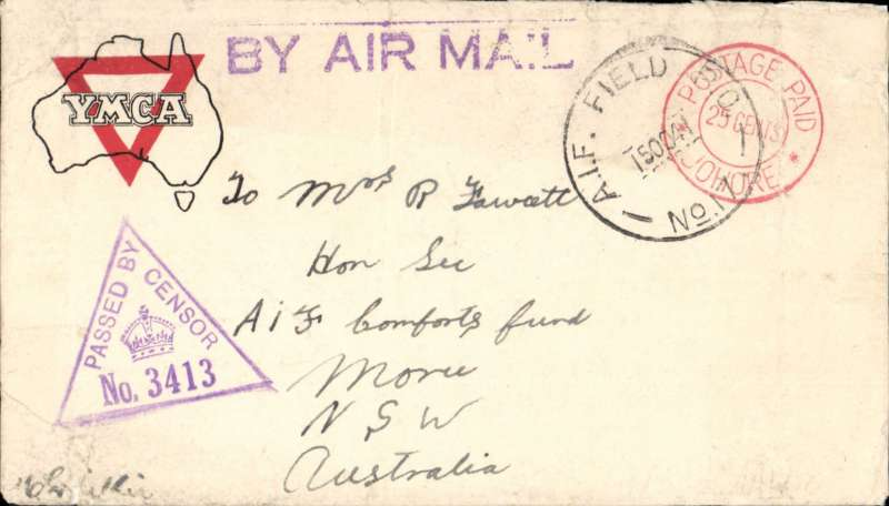 (Malaya) Australian Imperial Forces mail, Serembam, Negeri Sembilan to NSW, Australia, censored WWII ?YMCA? printed corner cover, franked red ?Postage Paid/ 25 cents/ Johore? double ring hs (shortage of stamps so Postage Paid hs used instead) tied buy Australian Imperial Force ?A.I.F. Field PO/ 150041/ No17? (based in Serenbam at that time), fine strike violet triangular Unit sensor No 3413, also violet straight line ?By Air Mail? hs.