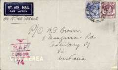 (Malaya) Active Service airmail, WWII RAF censored cover, postmarked 'FPO/SP 501/5 No 1941' to Australia, airmail etiquette cover franked 25c, red eagle over R.A.F./Censor/74 censor mark, ms 'On Active Service'.