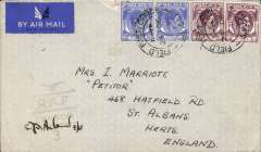 (Singapore) Active Service Airmail, WWII RAF censored cover, postmarked 'FPO/SP 501/23 Dec 1941' to England, ms 2/3/1942 receiver, plain cover correctly rated 50c for the post May 1941 postage rate revision for the BOAC Singapore-Cairo-Durban-Southampton Horseshoe service, weak strike blue eagle over RAF/Censor/3 censor mark..