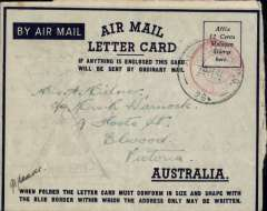 (Malaya) Australian Active Service censored WW II airmail, Malaya to Australia, air letter card franked red 'Postage Paid/12 cents/Johore' double ring hs (shortage of stamps so Postage Paid hs used instead),