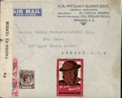 (Malaya) WWII censored cover, Penang to London, imprint airmail etiquette commercial corner cover correctly rated 55c for postage on the BOAC Penang-London service from Sep 39 to May 41, canc double ring Penang 10 Apr 40 cds, sealed B&W Singapore censor label tied by framed Singapore censor mark,  red/brown/white '1c Malaya Patriotic Fund' label.