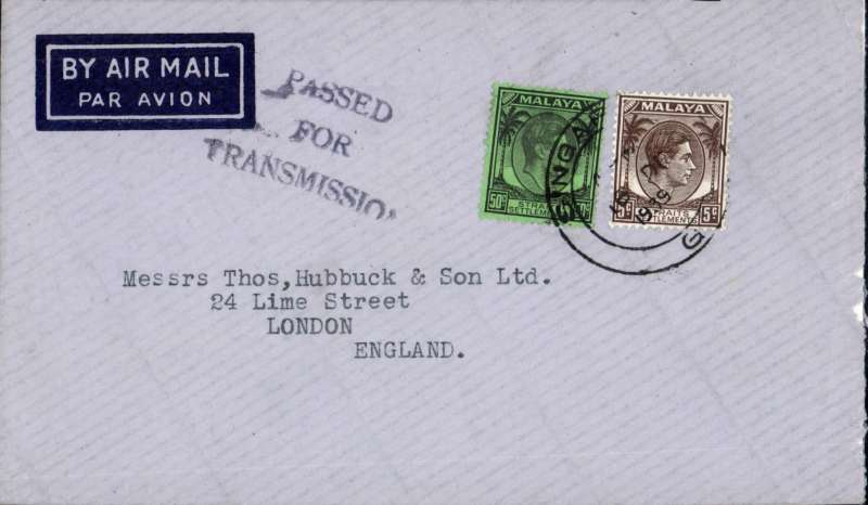 (Singapore) Early WWII censored cover, Singapore to London, imprint airmail etiquette cover correctly rated 55c for postage on the BOAC Penang-London service from Sep 39 to May 41, canc double ring Singapore G/ 16 De 1939 cds, black three line Singapore 'Passed/For/Transmission' censor mark,  Sender's name and address has been excised neatly from flap.