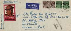 (Singapore) WWII censored cover, Singapore to London, scarcer double rate airmail etiquette cover, 22x10cm, correctly rated 2x 55c for postage on the BOAC Singapore-London Sep 39 to May 41 service, canc double ring 'Singapore/13 Feb 1940', black three line Singapore 'Passed/For/Transmission' censor mark,  red/brown/white 'Malaya Patriotic Fund' label.