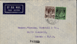 (Malaya) WWII censored cover, Penang to London, imprint airmail etiquette cover, correctly rated 55c for the BOAC Eastern Penang-London Sep 39 to May 41 service, canc double ring 'Penang/Malaya' cds', black three line Singapore 'Passed/For/Transmission' censor mark,