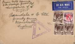 (Singapore) Singapore to London, WWII censored airmail etiquette cover, correctly rated 55c for postage by the BOAC Singapore-London Sep 39 to May 41 service, canc double ring 'Singapore/13 Feb 1940', fine strike violet triangular 'Passed For Transmission.Singapore censor mark No.5'