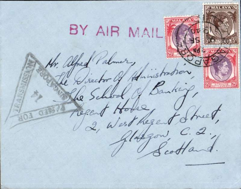 (Malaya) WWII censored cover, Singapore to UK, plain cover correctly rated 55c for postage on the BOAC Singapore-London service from Sep 39 to May 41, Singapore cds, red straight line 'By Air Mail' hs, black 'Passed For Transmission Singapore 14' triangular censor mark.