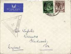 (Singapore) WWII censored cover, Singapore to UK, imprint airmail etiquette cover correctly rated 55c for postage on the BOAC Singapore-London service from Sep 39 to May 41, Singapore cds, black 'Passed For Transmission Singapore 14' triangular censor mark, small flap tear and minor top edge damage, see scan.