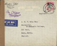(Singapore) 'By Air All the Way', WWII censored cover, correctly rated $2 for carriage from Singapore to England by the Pacific-USA-Atlantic route, airmail cover canc 'Singapore E' cds, sealed brown tape tied by Singapore 'Passed By Censor 65/A' censor mark front and verso. Carried Pan Am to San Francisco, US domestic airline to New York, Pan Am to Lisbon, then KLM to Whitchurch, England, May-Dec 1941 $2 service, (see Boyle p815,16).