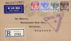(Singapore) WWII censored airmail Penang to England, registered (label) airmail etiquette cover correctly rated 50c + 15c registration for the post May 1941 postage rate revision for the BOAC Singapore-Cairo-Durban-Southampton Horseshoe service, fine strike mauve 'Passed For Transmission 16 (Singapore omitted) censor mark, franked 40c,12c,8c,5c perfinned Straits Settlements stamps canc 'Penang/Malaya cds, and large red/black Chartered Bank seal verso. Non invasive ironed vertical crease, otherwise in particularly fine condition. See scans.