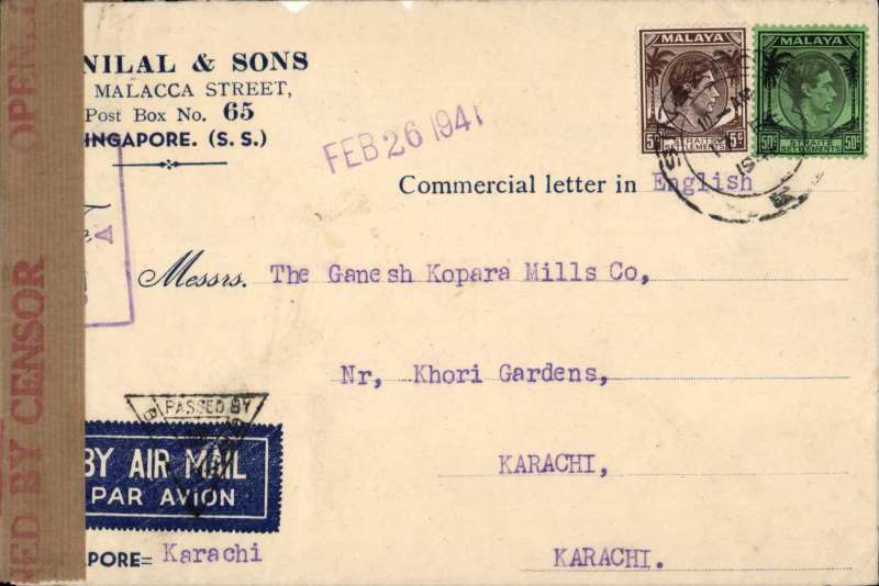 (Singapore) WWII censored cover, Singapore to Karachi, airmail etiquette cover correctly rated 55c for BOAC Singapore-Karachi-Cairo-Durban-London (Horseshoe) service, canc Singapore cds, violet framed Singapore 'Passed by Censor/A' hs, opened by Karachi censor and sealed India red/brown OBC /Crown censor tape tied by black Karachi triangular 'Passed By Censor B 31 with crown' censor mark.