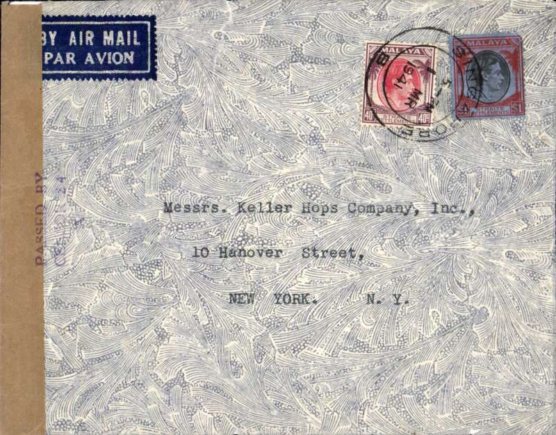 (Singapore) WWII censored airmail etiquette cover, Singapore to New York, franked $1.40 canc Singapore B cds,sealed plain brown censor tape and tied by Singapore 'Passed By/Censor 24/A censor mark. Correctly rated for Malaya to Manila by sea, then Manila to US by Pan Am, see Boyle p817, not easy to find. Minor top edge nibble verso, see scan..