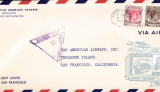 (Singapore) F/F FAM 14, Singapore to San Francisco, via Manila, Guam, Wake and Honolulu, cachet, b/s, violet triangular Singapore censor mark, official long cover, 23x10cm.