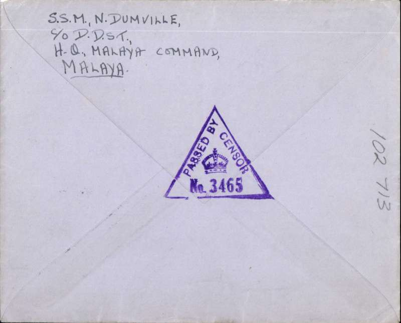 (Singapore) WWI censored airmail, Indian Section Base Office No 4, Singapore to UK, airmail etiquette cover franked 55c, correctly rated for the BOAC Singapore-Cairo-Durban-London (Horseshoe) route, fine strikes purple triangular Base PO 'Passed By Censor No 3465' censor marks front and verso.