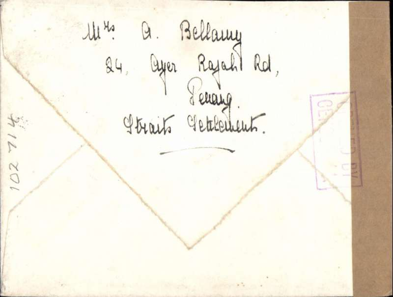(Malaya) WWII censored airmail, Penang to Scotland, plain cover franked 50c, canc Penang/Malaya cds, sealed plain brown tape tied violet framed 'Opened By/Censor 44' front and verso. Correctly rated for carriage over the Horseshoe route from May 1941 to Feb 1942.