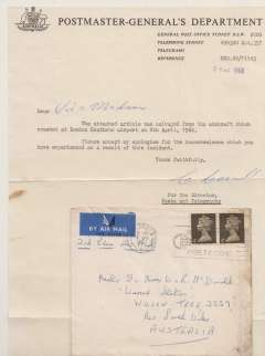 """(Recovered Interrupted Mail) Crash of BOAC Boeing 707 at Heathrow, en route from London to Australia, plain cover franked 8d, canc Sheffield cds, some lh edge charring verso. Also included is the original typewritten note, in fine condition, sent from the Postmaster-General's Department, Sydney which says """"The attached article was salvaged from the aircraft which crashd at London Heathrow airport on 8th April, 1969"""". Ni680408d. Exhibit item."""