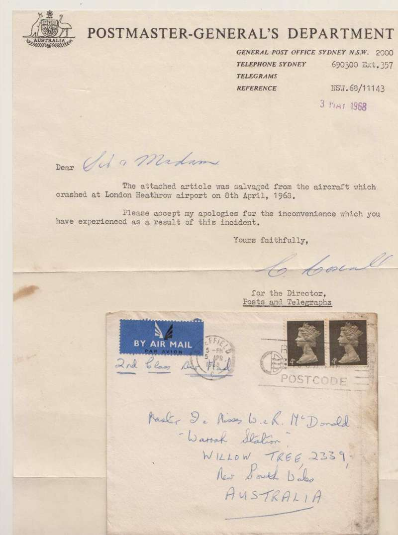 """(Recovered/Salvaged) Crash of BOAC Boeing 707 at Heathrow, en route from London to Australia, plain cover franked 8d, canc Sheffield cds, some lh edge charring verso. Also included is the original typewritten note, in fine condition, sent from the Postmaster-General's Department, Sydney which says """"The attached article was salvaged from the aircraft which crashd at London Heathrow airport on 8th April, 1969"""". Ni680408d. Exhibit item."""