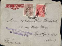 """(Recovered Interrupted Mail) Air France F-JIAQ crash at Aracaju, en route Bahia to France on the South America-Europe South Atlantic service, grey imprint etiquette cover addressed to France, franked 15c and another has been washed, canc Buenos Aires 2 Nov 35, fine strike purple two line """"Courrier Accidente Au Bresil/Le 3 Novembre 1935"""" cachet, Ni 351103a. Minor non invasive lower edge damage. The crashed mail was carried from Bahia to Natal  by car, and then embarked on the 'Santos Dumont' piloted by Mermoz for OAT to Toulouse."""