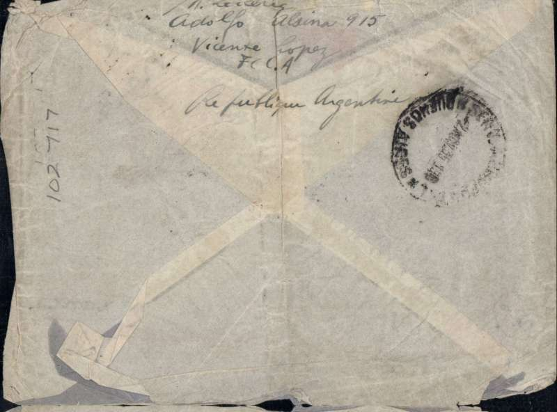 "(Recovered/Salvaged) Air France F-JIAQ crash at Aracaju, en route Bahia to France on the South America-Europe South Atlantic service, grey imprint etiquette cover addressed to France, franked 15c and another has been washed, canc Buenos Aires 2 Nov 35, fine strike purple two line ""Courrier Accidente Au Bresil/Le 3 Novembre 1935"" cachet, Ni 351103a. Minor non invasive lower edge damage. The crashed mail was carried from Bahia to Natal  by car, and then embarked on the 'Santos Dumont' piloted by Mermoz for OAT to Toulouse."