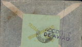 (Recovered/Salvaged) DHL flight 175, Junkers 52 seaplane 'Guaracy' en route Europe to South America crashed in rough seas en route from Rio to Santos, airmail cover addressed to Porto Allegre, stamps washed off, 'Paulo' residual postmark, verso green label cancelled Porto Alegre cds tied by good strike 'ACCIDENTE/DE AVIO' special cachet.  Ni 380522a. Has been accidentally cut in two, but is complete nevertheless, see scan. Particularly scarce with green label and special cachet.