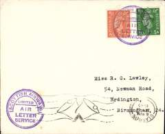 """(GB Internal) New airway letter service Stornaway-Glasgow established 2 July 1945, plain cover franked 2 1/2d canc violet circular """"Scottish Airways Limited/Air Letter Service"""" hs x2,  posted on arrival in Glasgow, 21 Aug 45 cds. machine cancel."""