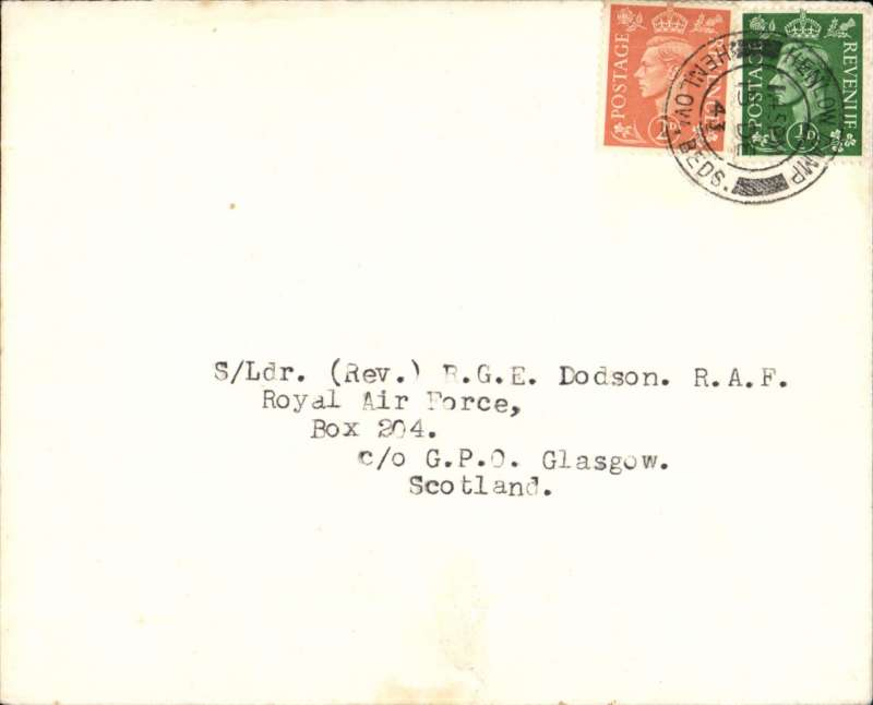 (GB Internal) Western Isles wartime services by Scottish Airways,  Glasgow-Tiree, then boat to Stornaway. In 1941 the air Ministry placed a contract with Scottish Airways to fly private and official service mail only, to and from the isolated RAF units in the Western Isles. No civilian mail was carried. Northbound mail had to be addressed to a dedicated undercover GPO Box number in Glasgow. Plain cover addressed to RAF c/o Box 204 Glasgow (the number used for Stornaway), franked 2 1/2d, canc RAF Henlow 15 Dec 43 cds,  ms confirmation of arrival on 18/12. This cover was flown from Glasgow to Tiree by Scottish Airways, thence to Stornaway by boat as air service held up by hurricane.