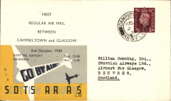 (GB Internal) Scottish Airways F/F Campbelltown to Glasgow, bs Renfrew 2/10 2.45pm, company cover with Scottish Airways logo on flap, franked 1 1/2d canc Campbeltown 11.15am. Only 44 flown, and one of a few dispatched by the company with special black/yellow/grey adhesive label overprinted with the flight times. Francis Field authentication hs verso.