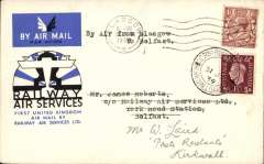 (GB Internal) Double first flight, Railway Air Services F/F Glasgow to Belfast on the 20th of August 1934, and then re flown on the Scottish Airways 31st of July 1939 F/F between North Ronaldshay and Kirkwall, bs 31/7, official RAS cover, franked 1 1/2d canc Glasgow cds, and 1 1/2d canc North Ronalsdshay cds.